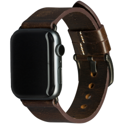 Bornholm - Watch Strap 42 & 44mm - Dark Brown/Space Grey